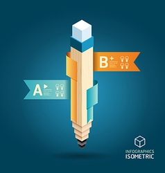 Modern isometric design pencil template vector