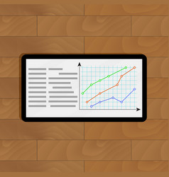 Tablet with curve graphic vector