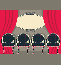 Theater interior with red curtains and chairs vector