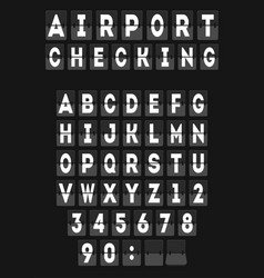 Analog airport board font template vector