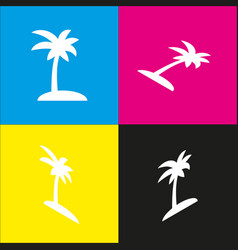 coconut palm tree sign  white icon with vector image