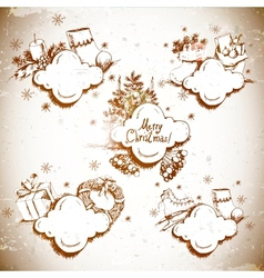 Doodle new year and christmas frame vector