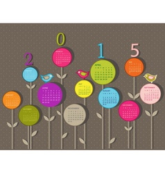 Calendar for 2015 year with flowers vector image