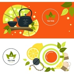 Tea banner set vector