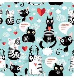 Beautiful cat lover pattern vector image