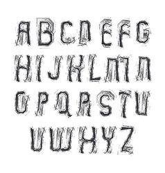 Alphabet letters set hand-drawn colorful script vector