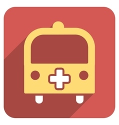 Medical bus flat rounded square icon with long vector