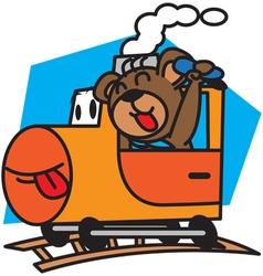 Bear and train vector image