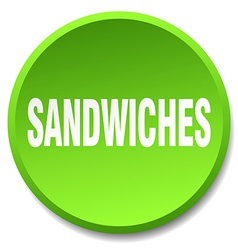 Sandwiches green round flat isolated push button vector