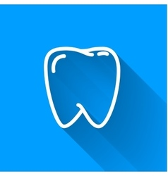 Human teeth simple white icon with long shadow on vector