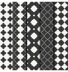 Set of geometric line monochrome lattice seamless vector
