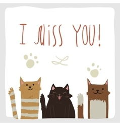 Artoon flat i miss you postcard with funny cats vector