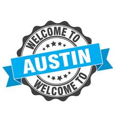 Austin round ribbon seal vector