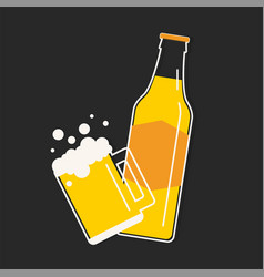 Beer bottle and mug vector