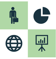 business icons set collection of pie bar work vector image