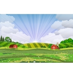 Cartoon farm green seeding field vector