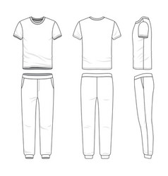 Clothing set of t-shirt and sweatpants vector