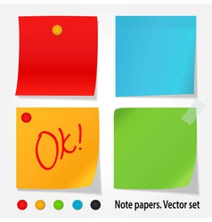 Colored note papers set vector