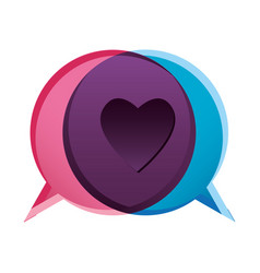 Colorful bubble dialog box with heart symbol vector