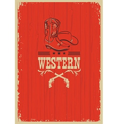 Cowboy western red background for design vector image vector image