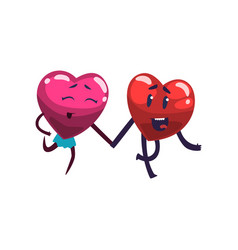 cute happy red and pink hearts characters running vector image