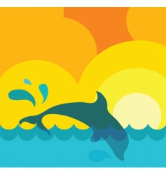 dolphin in water vector image vector image
