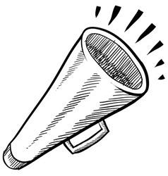 Doodle megaphone cone loud vector