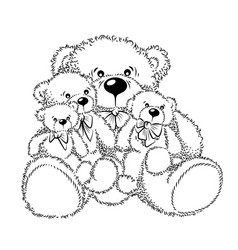 drawing teddy bears with bow vector image