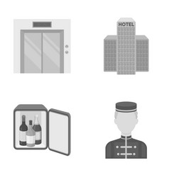 Elevator car mini bar staff buildinghotel set vector