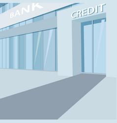 Exterior of the glass bank building facade vector