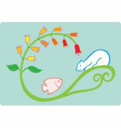 fish and bear vector image vector image