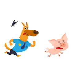 funny shepherd dog character in blue police vector image vector image