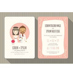 groom and bride cartoon wedding invitation card vector image vector image