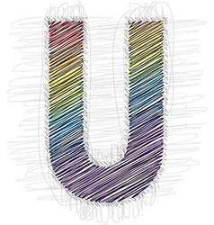 Hand draw font letter u vector