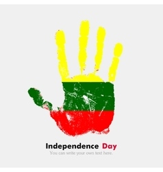 Handprint with the Lithuanian flag in grunge style vector image