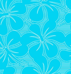 Light blue and white hibiscus lines seamless vector image vector image