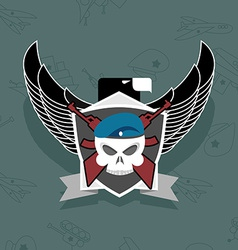 Military logo skull with wings on the shield vector