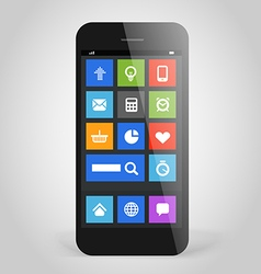 Modern smartphone with tile interface color icons vector image
