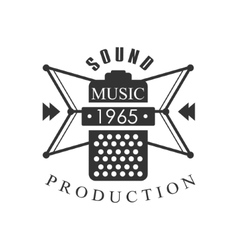 Music record studio black and white logo template vector