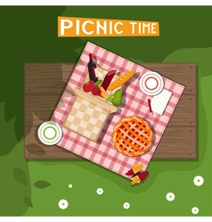 Picnic basket on wooden background vector