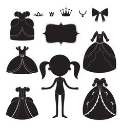 Princess dress silhouettes set Cartoon black and vector image vector image