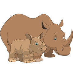 rhinoceros with cub vector image vector image