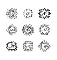 Set luxury monogram template vector