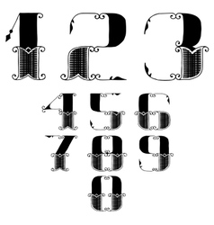 Set of numbers in vintage style vector