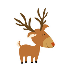 Silhouette caricature color of reindeer stand vector