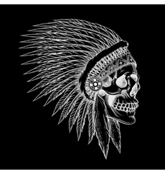 Skull of indian chief in hand drawing style vector