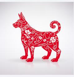stylized red dog vector image vector image