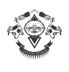 Tattoo studio logo emblem vector image vector image