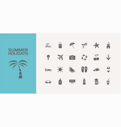 twenty five summer holidays icons set vector image