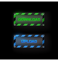 Web buttons download and upload vector image vector image